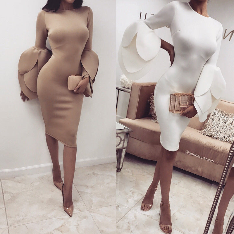 Women Fashion Petal Sleeve Bodycon Dress