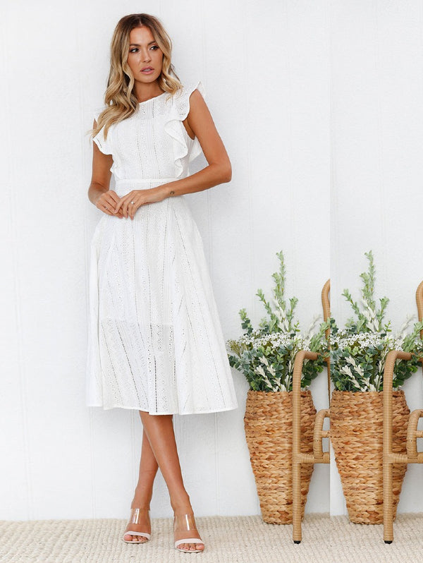Ruffled Irregular Round Neck Lace Dress