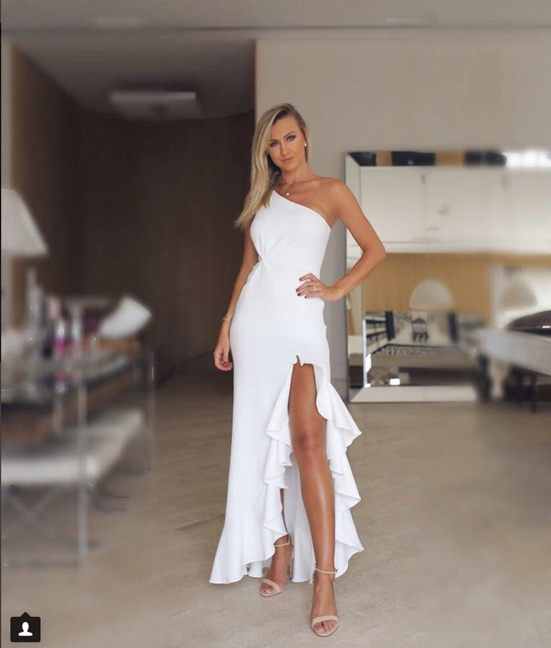 One Shoulder Twisted Ruffles Slit Hem Dress