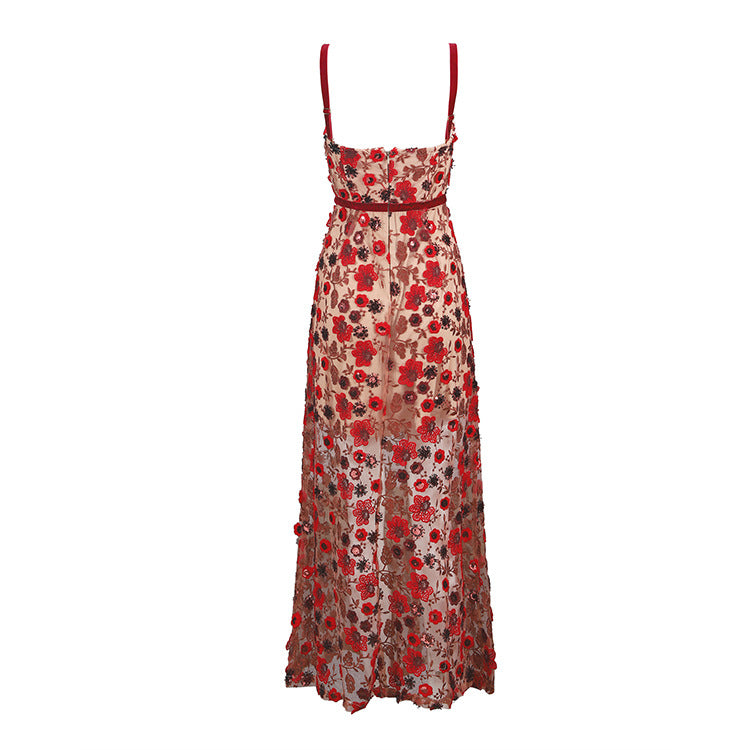 Embroidered Bud Silk Gauze Perspective Strap Dress