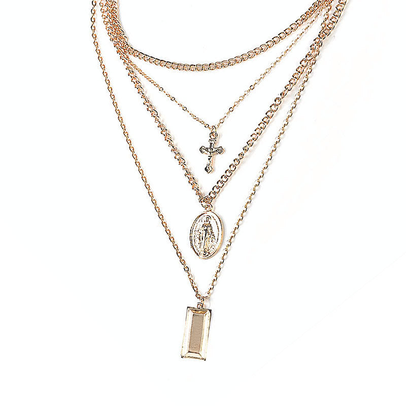 Virgin Cross Multi-layer Necklace