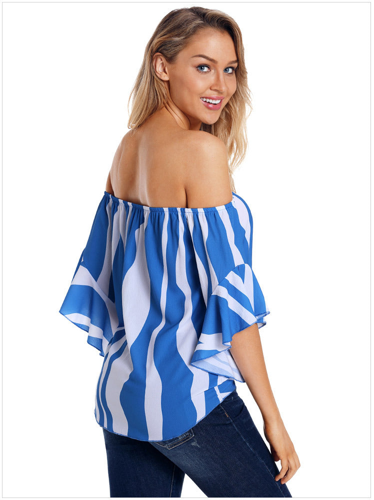 Knot Front Cold Shoulder Striped Top