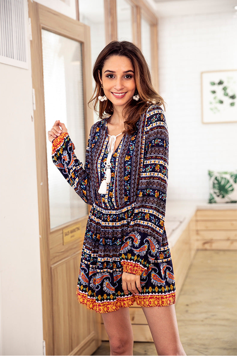 Bohemian V-neck Drawstring Long Sleeve Tunic Dress