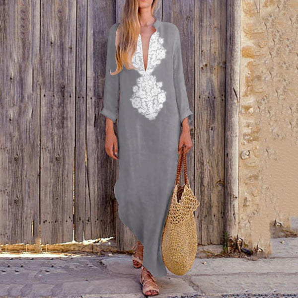 Casual Long Deep V-Neck Cotton Linen Dress