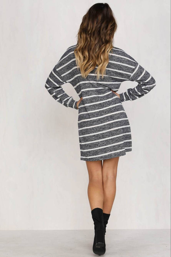 Round Neck Long Sleeve Striped Loose Dress