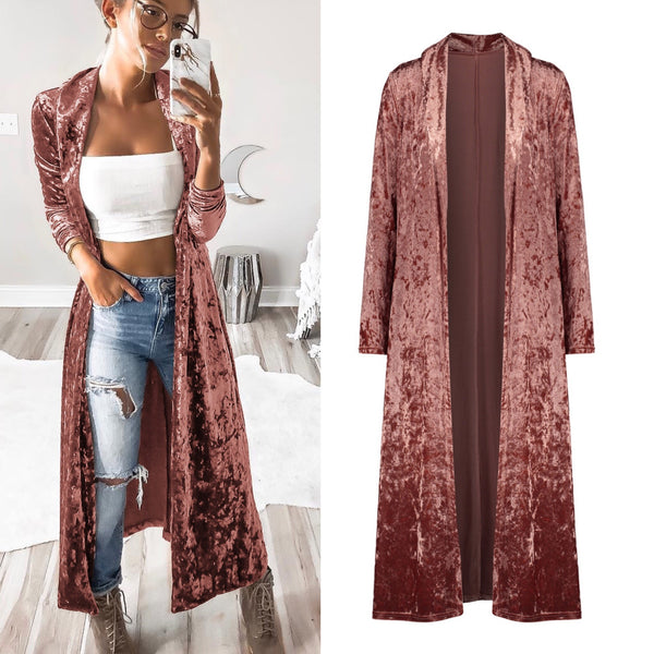 Gold Velvet Cardigan Long Trench Coat