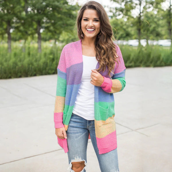 Colorful Rainbow Stitching Cardigan