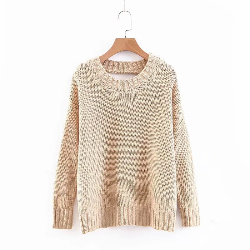 Hollow Back Tie Rope Pullover Sweater
