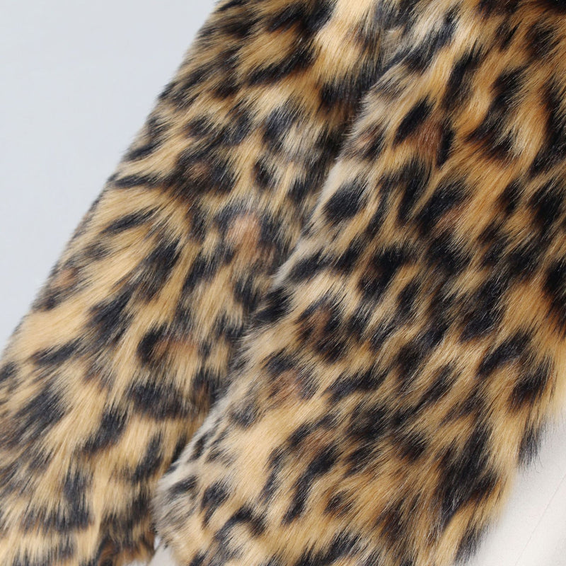 Leopard Fur Collar Long Sleeve Plush Jacket