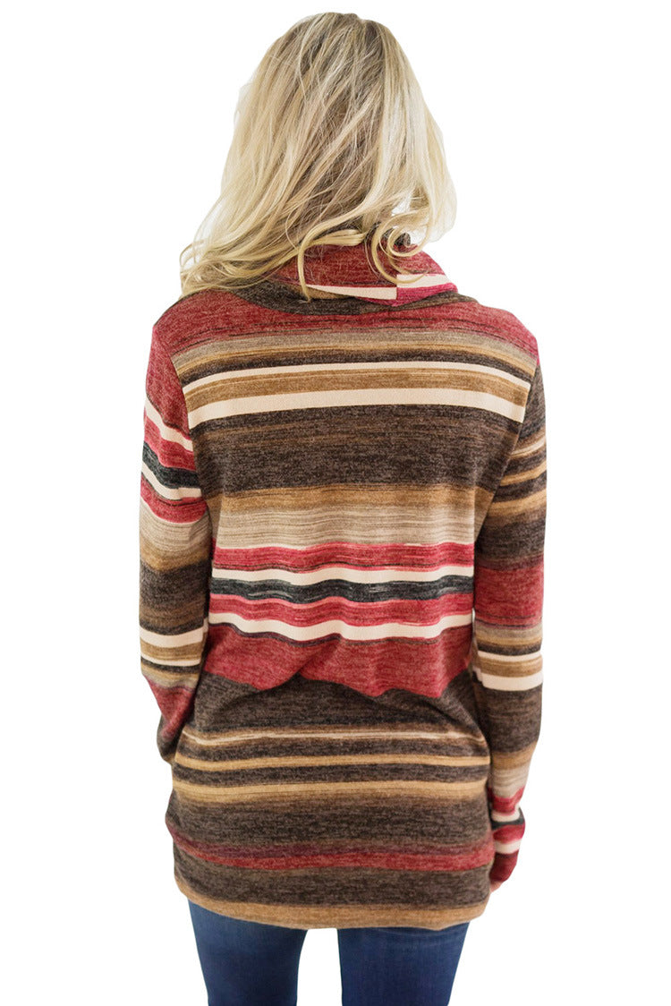 Mid-length Striped Long-sleeved Sweatshirt