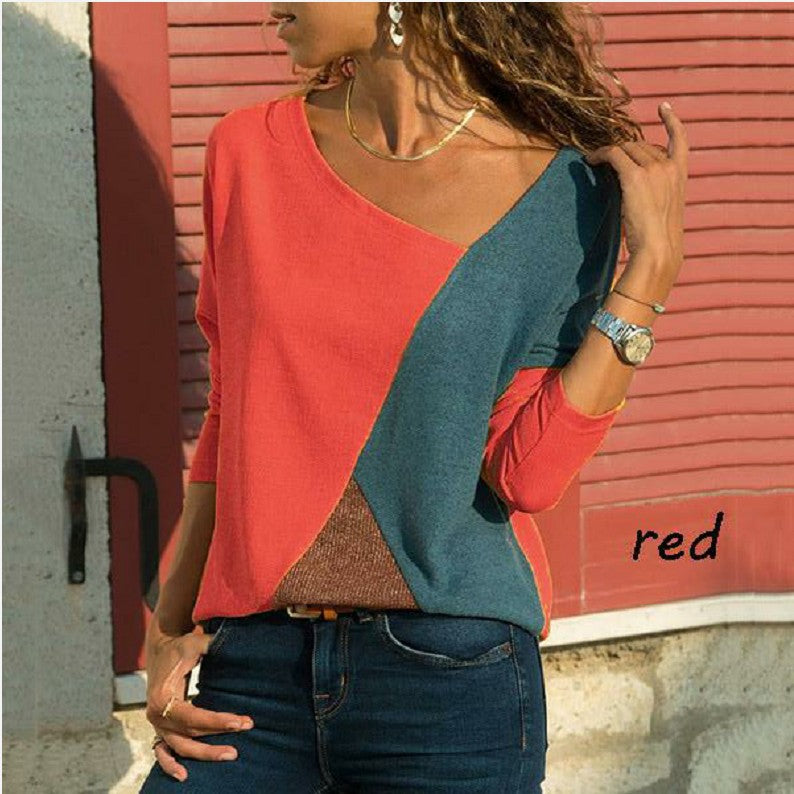Splicing Contrast Round Neck Long Sleeve Casual T-Shirt Woman's Top