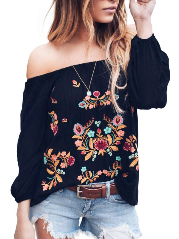 Off Shoulder Printed Flower T-shirt
