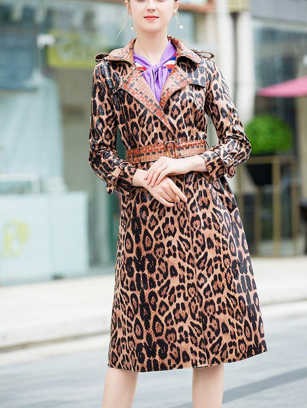 Leopard Middle Long Blet Coat