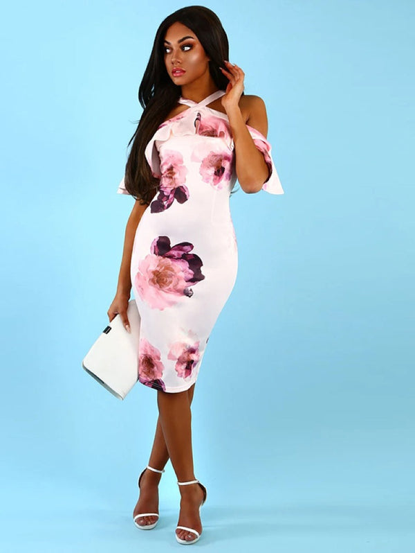 Printed Sling Cross Sexy Strapless Bodycon Dress