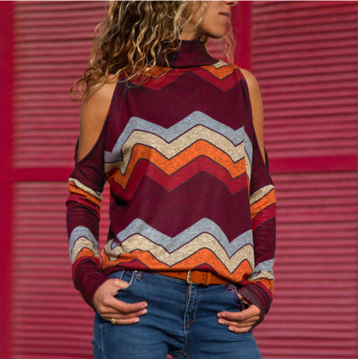 High-neck Long Sleeved Printed Off-shoulder Knit Top