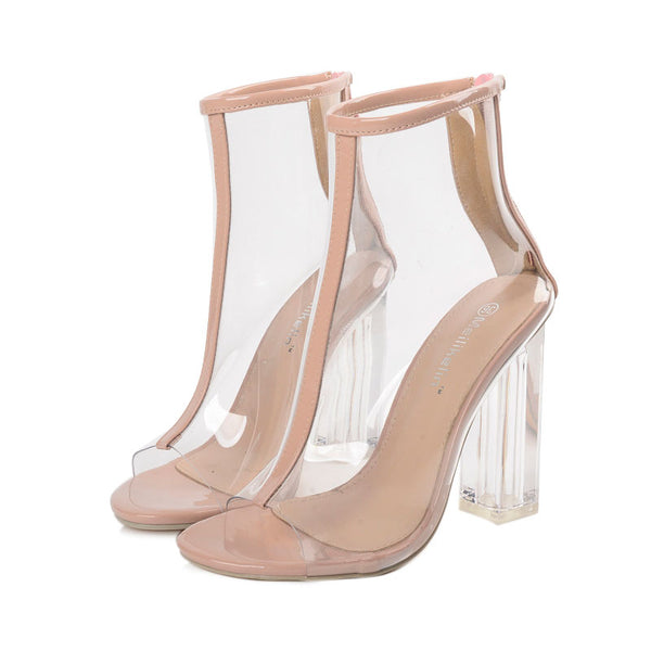 Transparent High Heel Zipper Sandals