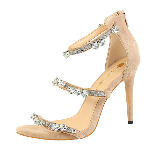 Suede Open Toe High Heel Sandals