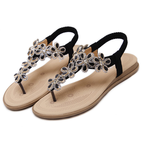 Flat Toe Post Pom Pom Sandal