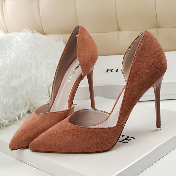 Suede Point Toe High Heel Shoes