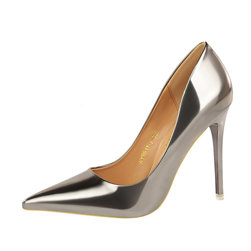 Patent Leather Fabric Point Toe High Heel Shoes
