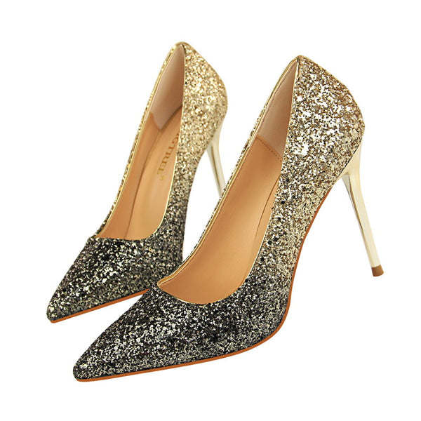 Bling Pu Point Toe High Heel Shoes