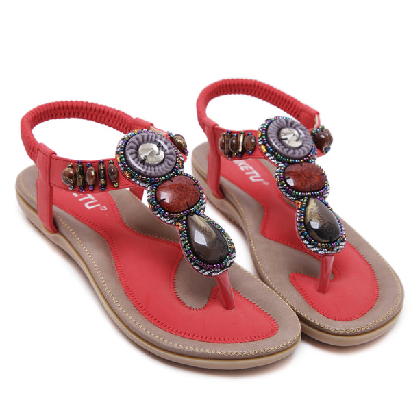 Elastic Band Flat Toe Post Beaded Sandals