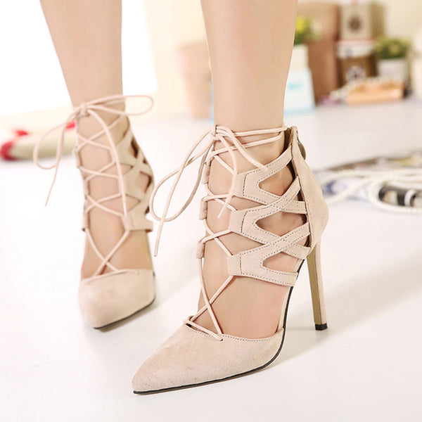High Heel Cross Strappy Suede Sandals