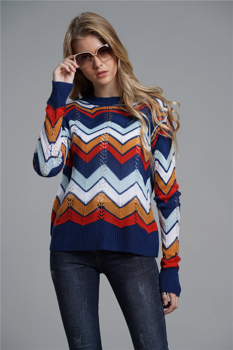 Ol Commuter Striped Comfortable Loose Shoulder-knit