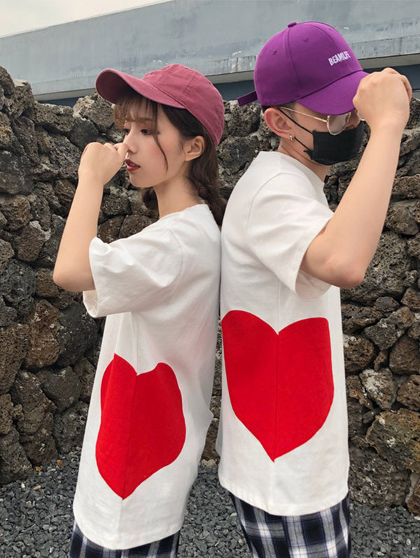 Cotton Love Heart Short Sleeve Best Friends Couple T-shirt