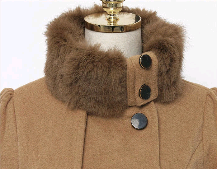 Slim Mid-length Wool Double-breasted Padded Coat