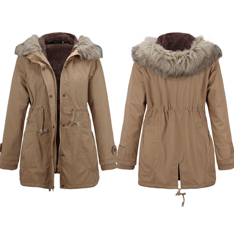 Fur Collar Hooded Winter Coat