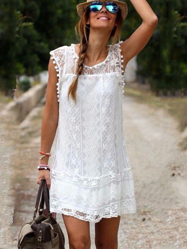 Solid Color Lace Sleeveless Short Dress