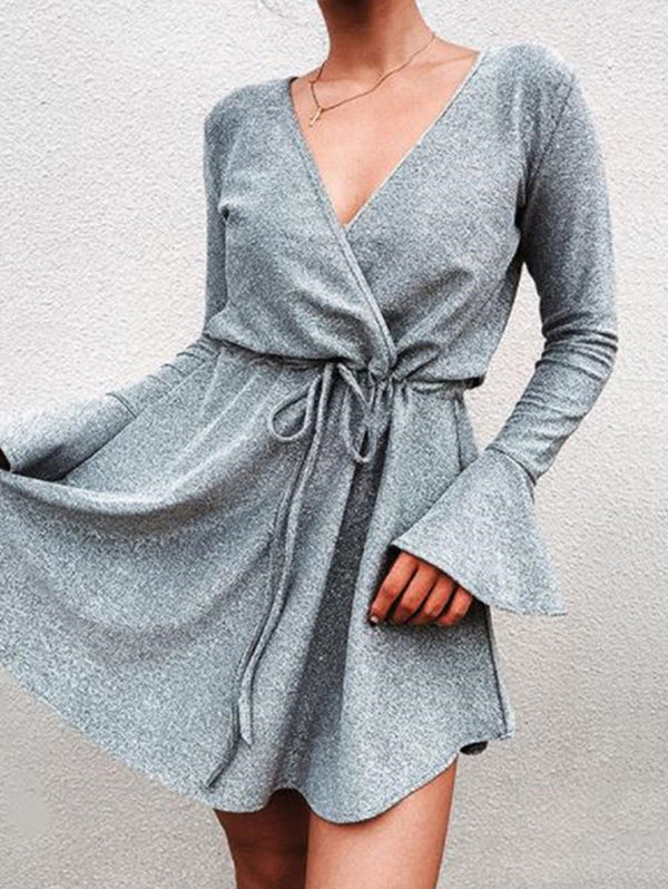 Sexy Solid Color Deep V Neck Flare Sleeve Dress