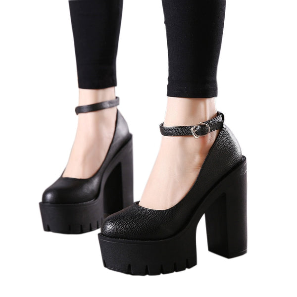 Casual Ankle Strap Platform Oversized Pumps