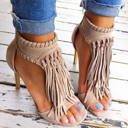 Black Apricot Sexy Women Tassel Sandals Open Top Zipper High Heels
