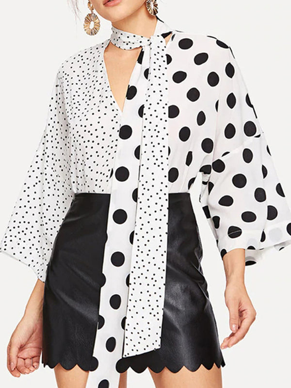 Polka Dot Printed V Neck Casual Shirt