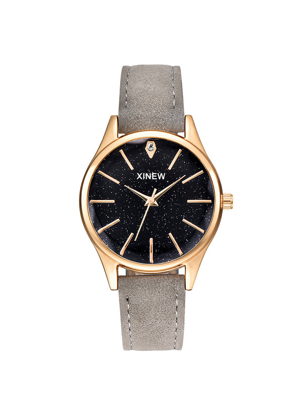 Women Leather Band Quartz Wristwatches