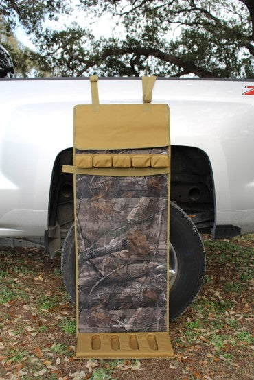 NEW ULTIMATE SHOTGUN REST- CAMO AND TAN WITH BARREL COVER AND VELCRO STRAP