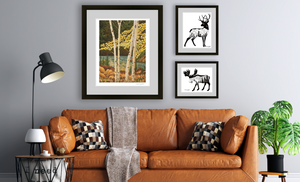 Prints from CherieSmittleArt : Aspen Trees in Fall Deer and Moose prints in living room setting