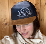 Dad hat, trucker hat, baseball cap : living the dream, mountains, big dipper, compass, trees