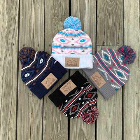 Living The Dream Cuffed beanie, Living the Dream slouch beanie, living the dream beanie, living the dream knit hat, Sedona beanie, living the dream pom beanie, mountain beanie with pom, compass beanie with pom