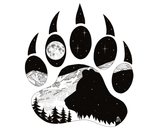 Artwork: Bear Paw with bear, full moon and mountain range.
