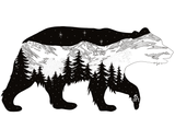 Bear sticker artwork, mountains, stars, evergreen trees