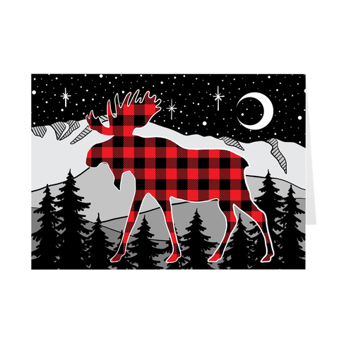 Buffalo Plaid Moose Mountain Greeting Card; Buffalo Plaid Greeting Card, colorado artist, colorado art, colorado artwork, Buffalo Plaid Moose Card, Pikes Peak card, Colorado Springs Card, Mountain card, moose silhouette card, Colorado mountain card, moose greeting card, mountain greeting card, Colorado mountain greeting card, card with moose, card with mountain, thank you card, congratulations card, moose silhouette card, moose silhouette greeting card