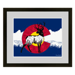 Deer with mountain range and stars. deer artwork, mountains, stars, evergreen trees, colorado artist, colorado art, colorado artwork, dotwork, deer silhouette, colorado flag, flag art, colorado flag artwork