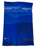 Back Inside: Colorado Love Face Mask (Double Layer Buff); Colorado Flag, Colorado Art, Colorado Artwork, Wood grain C with Heart and mountains, locale outdoor