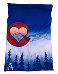 Colorado Love Face Mask (Double Layer Buff); Colorado Flag, Colorado Art, Colorado Artwork, Wood grain C with Heart and mountains, locale outdoor