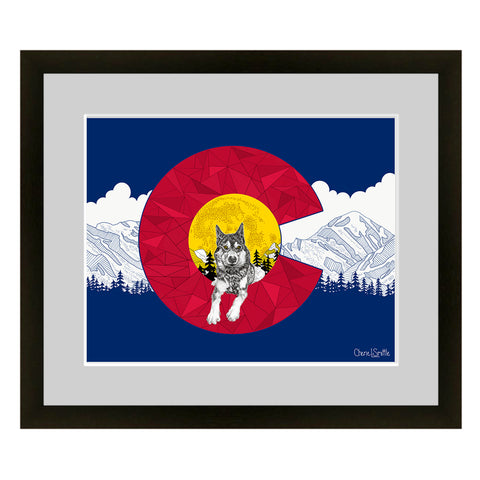 Wolf with mountain range and stars. wolf artwork, mountains, stars, evergreen trees, colorado artist, colorado art, colorado artwork, dotwork, deer silhouette, colorado flag, flag art, colorado flag artwork