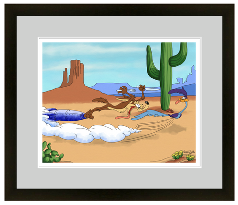 wile e coyote,  roadrunner, road runner, utah, rocket, maob, cactus, cactus art, cartoon art,mountains, stars, evergreen trees, colorado artist, colorado art, colorado artwork