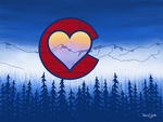 Artwork: Colorado Love Face Mask; Colorado Flag, Colorado Art, Colorado Artwork, Wood grain C with Heart and mountains,  blackstrap, black strap, locale outdoor
